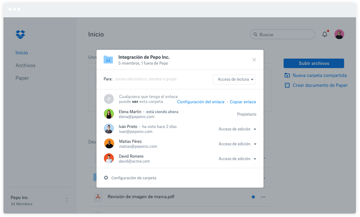 integracion dropbox business