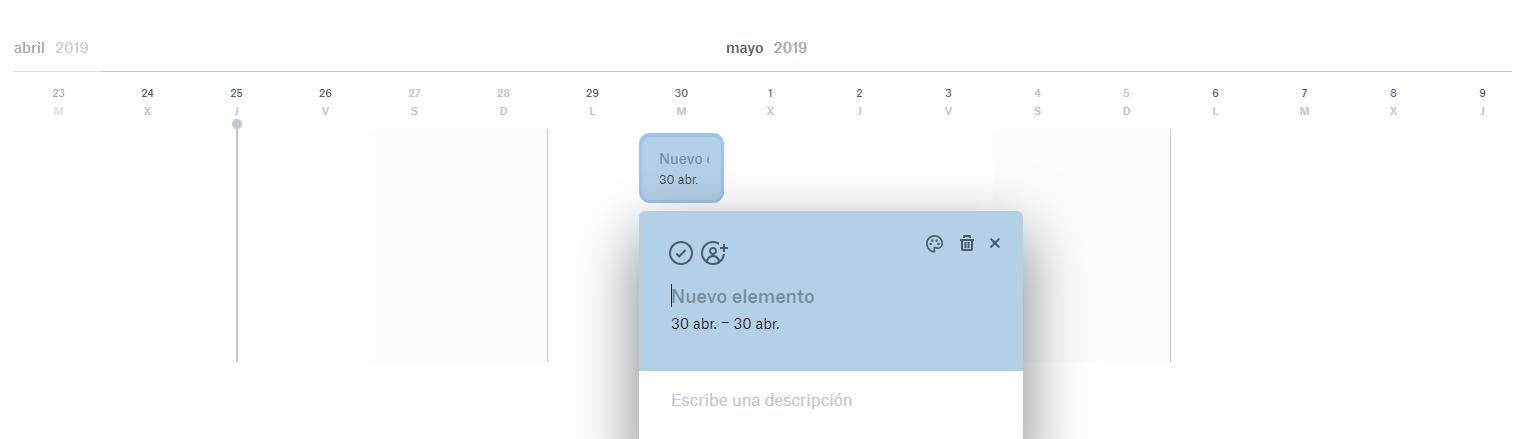 Línea de tiempo Dropbox Paper