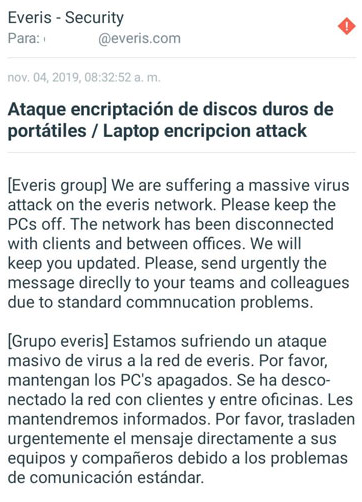 Ataque ransomware a Everis